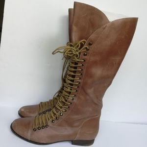 Steve Madden P-lorra Leather Lace Up Riding  Boots